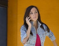 Pretty Woman using cell phone Stock Photos
