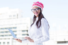 Pretty woman using her laptop Royalty Free Stock Image