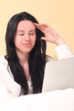 Pretty Woman Using New Technology to Read Stock Image