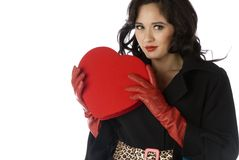 Pretty woman on Valentines Stock Photography