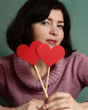 Pretty woman with valentines day  red heart Stock Image
