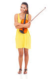 Pretty woman violin Royalty Free Stock Image