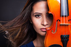 Pretty woman violin Stock Photo