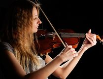 Pretty woman and violin Royalty Free Stock Photography