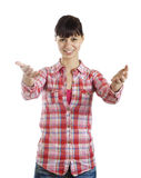 Welcome gesture young woman Stock Photo