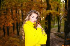 Pretty woman walking in the Park and enjoying the beautiful autumn nature. Beautiful happy smiling girl with long hair stock photography