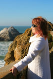 Pretty woman by the water, San Francisco Stock Image