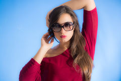 Pretty woman wear sunglasses Stock Images