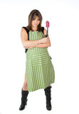 Pretty woman wearing an apron Royalty Free Stock Image