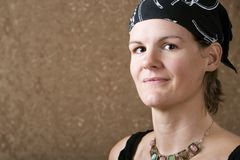 Pretty Woman Wearing a Bandana Stock Photo