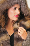 Pretty woman wearing a brown fur coat stock photo