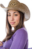 Pretty woman wearing an cowboy hat Royalty Free Stock Image