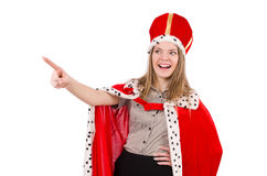 Pretty woman wearing crown and red coat isolated Royalty Free Stock Photo