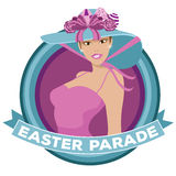 Pretty woman wearing Easter bonnet parade icon Stock Images