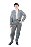 Pretty Woman Wearing Gray Suit Stock Photo