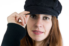 Pretty woman wearing an hat Stock Images