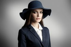 Pretty woman wearing hat royalty free stock photos