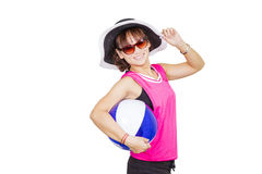 Pretty woman wearing hat and sunglass Stock Photography