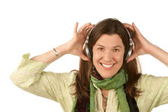 Pretty Woman Wearing Headphones Stock Photo