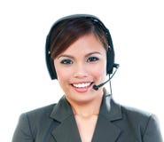 Pretty Woman Wearing Headset Stock Image