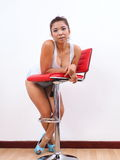 Pretty woman wearing high heels Stock Images
