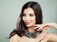 Pretty Woman Wearing Jewelry Necklace. Fashion Beauty Portrait stock photo