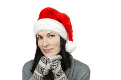 Pretty woman wearing santa hat Royalty Free Stock Photo