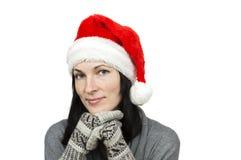 Pretty woman wearing santa hat Royalty Free Stock Photo