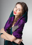 Pretty woman wearing scarf   Stock Image