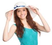 Pretty woman wearing summer hat Stock Photo