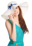 Pretty woman wearing summer hat Royalty Free Stock Image
