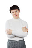Pretty Woman Wearing White Knitted Turtleneck Stock Images