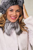 Pretty woman wearing winter fashion royalty free stock photo