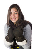 Pretty woman wearing winter mitts Royalty Free Stock Photography