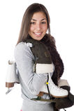 Pretty woman wearing winter mitts and skates Stock Photos