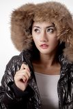 Pretty woman wearing winter warm clothes Royalty Free Stock Images