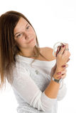 Pretty woman with white beads Stock Photography