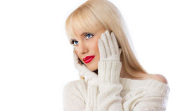 Pretty woman in white sweater with red lips Royalty Free Stock Image