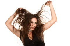 Pretty woman with wild hair Royalty Free Stock Photos