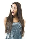 Pretty woman winking Stock Image