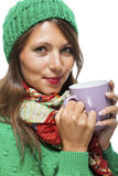 Pretty Woman in Winter Fashion Drinking Coffee Royalty Free Stock Photo