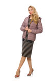 Pretty woman in winter lilac jacket isolated on Stock Images