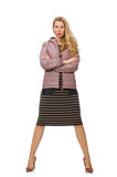 Pretty woman in winter lilac jacket Stock Image