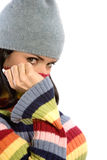 Pretty woman in winter sweater and hat Royalty Free Stock Photography