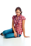 Pretty woman with wistful look royalty free stock photo