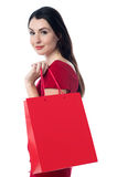 Pretty Woman With A Shopping Bag Royalty Free Stock Photos