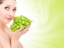 Pretty Woman With Grape Stock Photo