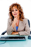 Pretty woman at work Stock Images