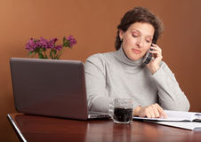 Pretty woman working at home Royalty Free Stock Image