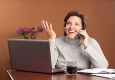 Pretty woman working at home Stock Images